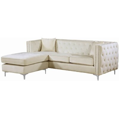 Loretta Reversible Sectional Upholstery: Cream