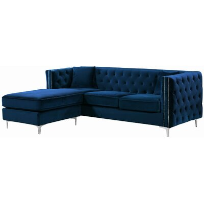 Loretta Reversible Sectional Upholstery: Navy