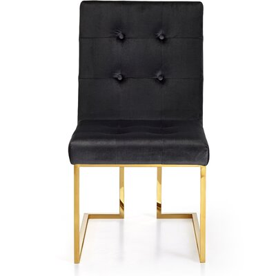 Robey Velvet Parsons Chair Upholstery: Black