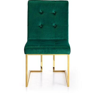 Robey Velvet Parsons Chair Upholstery: Green