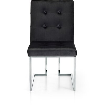 Hartford Velvet Parsons Chair Upholstery: Black