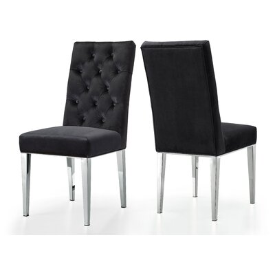 Marshall Velvet Side Chair Upholstery: Black