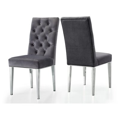 Marshall Velvet Dining Chair Upholstery: Gray