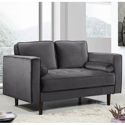 Pamula Chesterfield Loveseat Upholstery: Gray