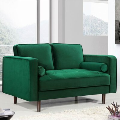 Pamula Chesterfield Loveseat Upholstery: Green