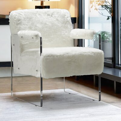 Pamella Fur Armchair Upholstery: White