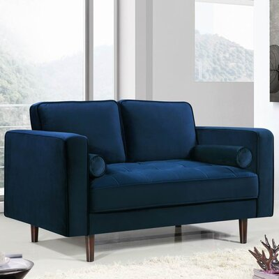 Pamula Chesterfield Loveseat Upholstery: Navy