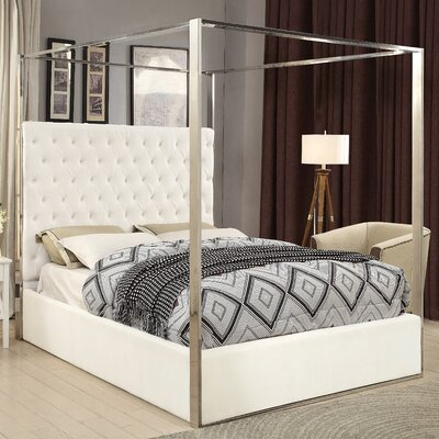 Pamala Velvet Upholstered Canopy Bed Size: King, Color: White