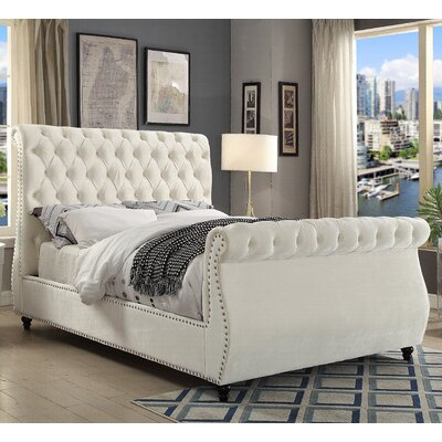 Ruthanne Velvet Upholstered Sleigh Bed Size: Queen, Color: Cream