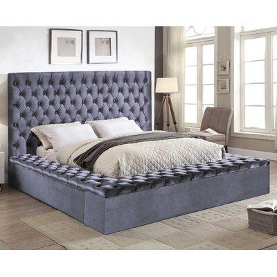 Ruthann Velvet Upholstered Platform Bed Size: King, Upholstery: Gray