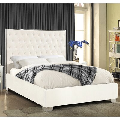Ruthe Velvet Upholstered Platform Bed Size: King, Color: White
