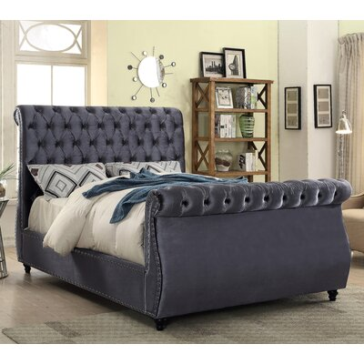 Ruthanne Velvet Upholstered Sleigh Bed Size: King, Color: Gray