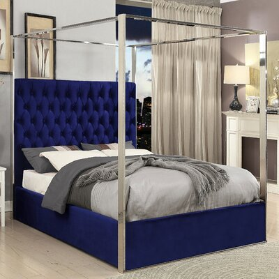 Pamala Upholstered Canopy Bed Size: Queen, Color: Navy