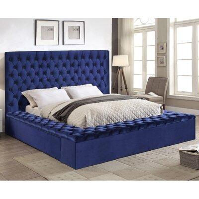 Ruthann Velvet Upholstered Platform Bed Size: King, Upholstery: Navy