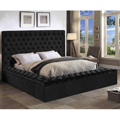 Ruthann Velvet Upholstered Platform Bed Size: Queen, Upholstery: Black