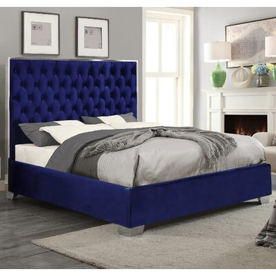 Ruthe Upholstered Platform Bed Size: King, Color: Navy