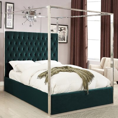 Pamala Velvet Upholstered Canopy Bed Size: King, Color: Green