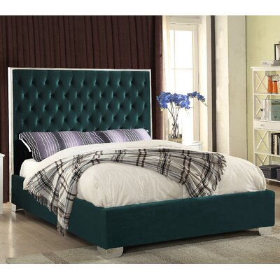 Ruthe Upholstered Platform Bed Size: King, Color: Green