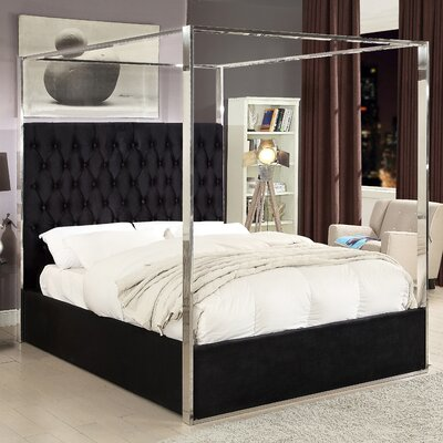 Pamala Velvet Upholstered Canopy Bed Size: Queen, Color: Black