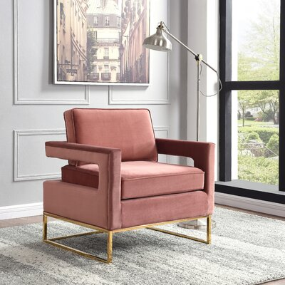 Canterbury Armchair Upholstery: Pink, Finish: Gold