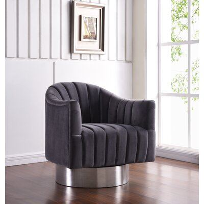 Bekah Swivel Barrel Chair Upholstery: Gray, Finish: Silver