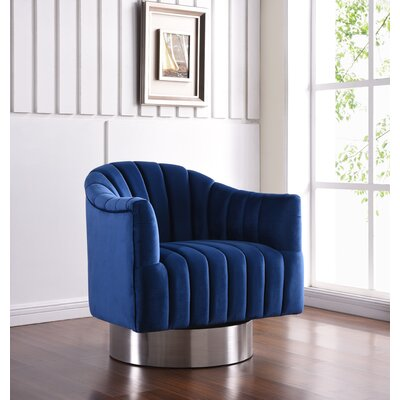 Bekah Swivel Barrel Chair Upholstery: Navy, Finish: Silver