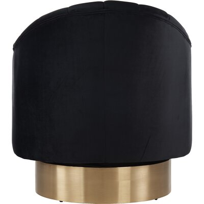 Bekah Swivel Barrel Chair Upholstery: Black, Finish: Gold