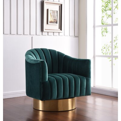 Bekah Swivel Barrel Chair Upholstery: Green, Finish: Gold