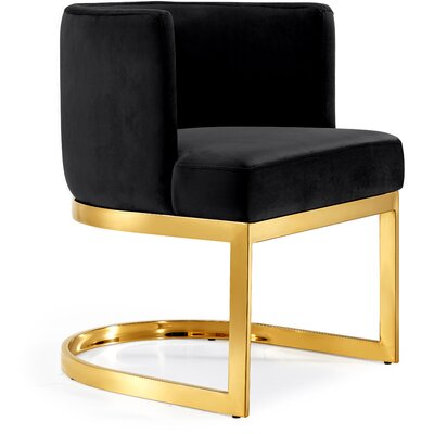 Hobson Upholstered Dining Chair Upholstery Color: Black, Frame Color: Gold