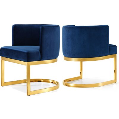 Hobson Upholstered Dining Chair Upholstery Color: Navy, Frame Color: Gold