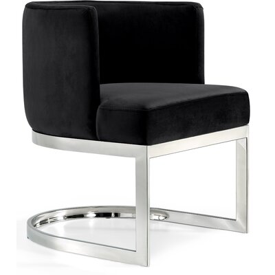 Hobson Upholstered Dining Chair Upholstery Color: Black, Frame Color: Silver