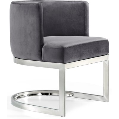 Hobson Upholstered Dining Chair Upholstery Color: Gray, Frame Color: Silver