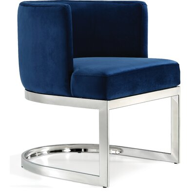 Hobson Upholstered Dining Chair Upholstery Color: Navy, Frame Color: Silver