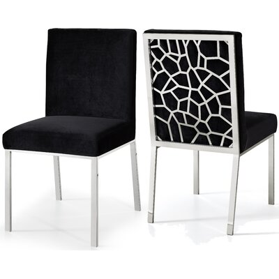 Hop Upholstered Dining Chair Upholstery Color: Black, Frame Color: Silver