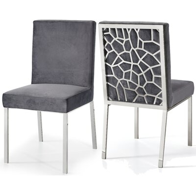 Hop Upholstered Dining Chair Upholstery Color: Gray, Frame Color: Silver