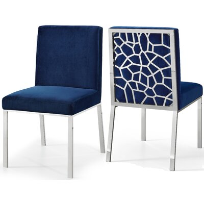 Hop Upholstered Dining Chair Upholstery Color: Navy, Base Color: Silver