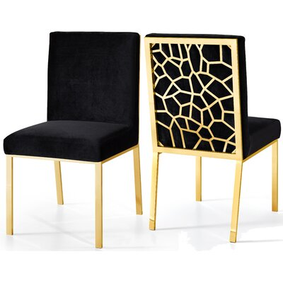 Hop Upholstered Dining Chair Upholstery Color: Black, Base Color: Gold