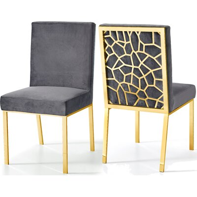 Hop Upholstered Dining Chair Upholstery Color: Gray, Base Color: Gold