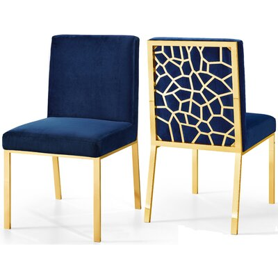 Hop Upholstered Dining Chair Upholstery Color: Navy, Frame Color: Gold
