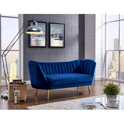 Koger Chesterfield Loveseat Upholstery: Navy