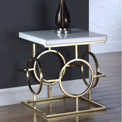 Santamaria End Table Base Color: Gold, Top Color: Glass