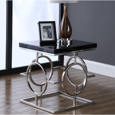 Santamaria End Table Base Color: Silver, Top Color: Black