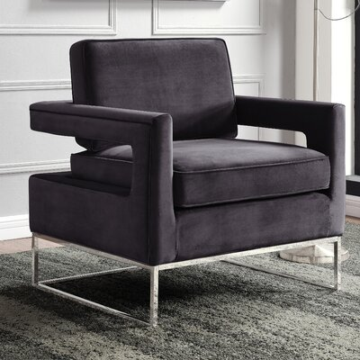 Canterbury Armchair Upholstery: Gray, Finish: Silver