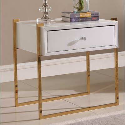 Shi Side Table Color (Base/Top): Gold/White