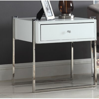 Shi Side Table Color (Base/Top): Silver/White