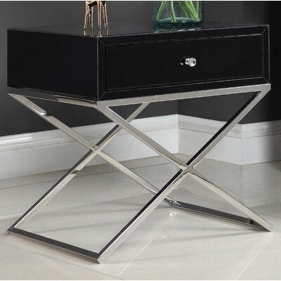Katondra Side Table Color (Base/Top): Silver/Black