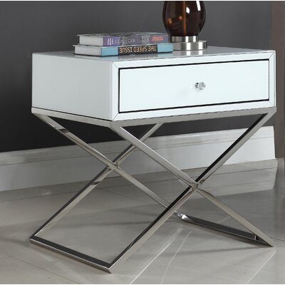 Katondra Side Table Color (Base/Top): Silver/White