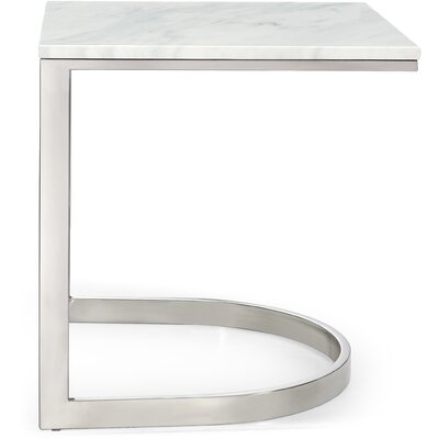 Brookside Marble End Table Table Base Color: Chrome