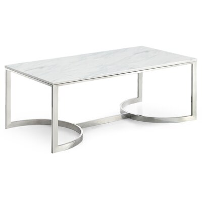 Brookside Marble Coffee Table Table Base Color: Chrome