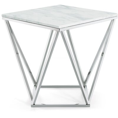 Robeson Marble End Table Table Base Finish: Chrome